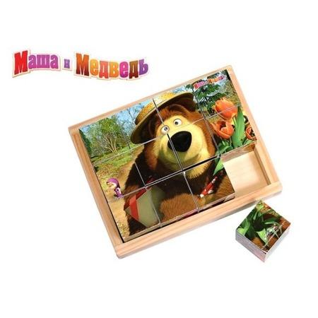 Купить Кубики деревянные Маша и Медведь «Маша и Медведь» 44841