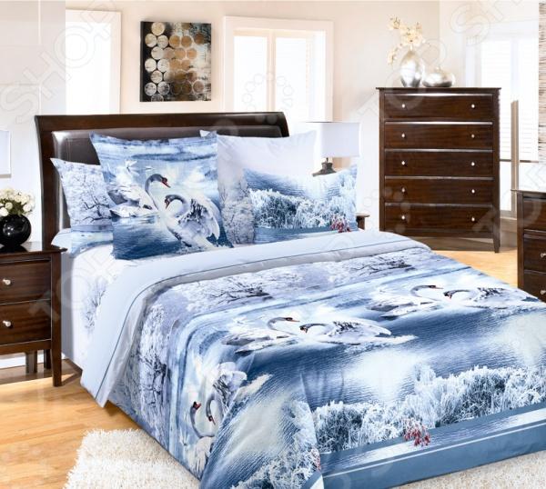 Комплект постельного белья Белиссимо «Лебединое озеро». 2-спальный2-спальные<br>Комплект постельного белья Белиссимо Лебединое озеро это незаменимый элемент вашей спальни. Человек треть своей жизни проводит в постели, и от ощущений, которые вы испытываете при прикосновении к простыням или наволочкам, многое зависит. Чтобы сон всегда был комфортным, а пробуждение приятным, мы предлагаем вам этот комплект постельного белья. Приятный цвет и высокое качество комплекта гарантирует, что атмосфера вашей спальни наполнится теплотой и уютом, а вы испытаете множество сладких мгновений спокойного сна. Комплект сшит из бязи. У такой ткани есть ряд преимуществ:  плотная ткань гарантирует длительный срок службы;  приятна на ощупь;  не деформируется и не теряет цвет даже после многочисленных стирок;  белье гигиенично, не вызывает аллергических реакций.<br>