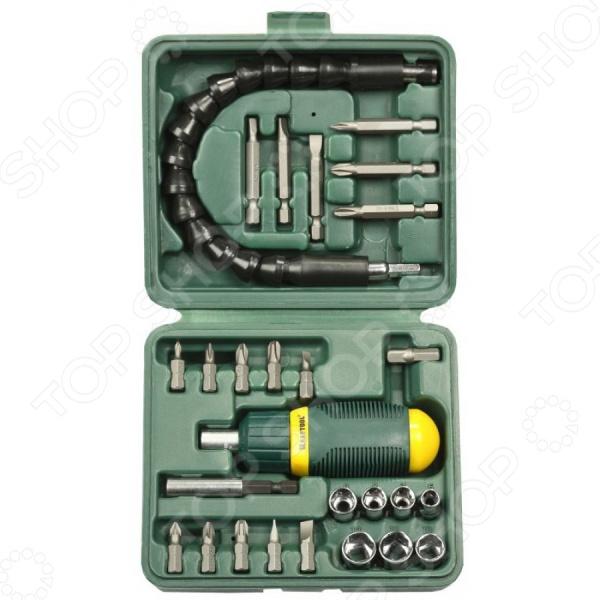 Отвертка реверсивная с битами и торцевыми головками Kraftool 25556-H27 набор kraftool отвертка реверсивная с битами и торцевыми головками 29 предметов 25556 h29