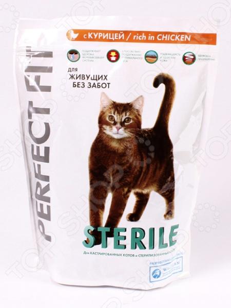 Корм сухой для стерилизованных кошек Perfect Fit Sterile rich in ChickenСухой корм<br>Корм сухой для стерилизованных кошек Perfect Fit Sterile rich in Chicken качественный и экологически чистый корм, который идеально подходит для вашего питомца. За счет того, что стерилизованные кошки и коты более склонны к набору лишнего веса и другим заболеваниям, их рацион должен быть четко сбалансирован. Данный корм включает в себя только отборные натуральные ингредиенты, дополнительно обогащенные всеми необходимыми для животного витаминами и минералами. Благодаря этому ваш питомец будет получать только нужное количество полезных веществ. Приятный, натуральный вкус курицы и оптимальный размер крокетов придется по душе даже самой капризной и привередливой кошке. Благодаря тому, что рацион не содержит ГМО, красителей, химических добавок, консервантов, он будет безопасен для вашего питомца. Почему стоит выбрать именно этот корм для вашего питомца:  содержит витамины Е и С, которые укрепляют иммунную систему питомца;  богат растительным экстракторами для здоровой микрофлоры кишечника;  содержит витамин А для хорошего и острого зрения;  содержит биотин, цинк и жирные кислоты Омега для блестящей шерсти и здоровой кожи. Как перевести кошку на новый сухой корм для стерилизованных кошек Perfect Fit Sterile rich in Chicken. Если вы решили начать кормить питомца Perfect Fit Sterile rich in Chicken, это следует делать постепенно. Чтобы кошка быстрее усвоила новый вид корма, смешайте привычное для неё питание с хрустящими гранулами. В последующие 7 дней понемногу увеличивайте содержание сухого корма, до тех пор пока она полностью не перейдет на него. Норма кормления. Для нормального самочувствия вашего питомца следует придерживаться следующей суточной нормы кормления:       Вес кошки кг     4     5     6       Дневная норма корма г     45     55     65    Внимание! Следите за тем, чтобы у вашего питомца была всегда чистая и свежая вода.<br>