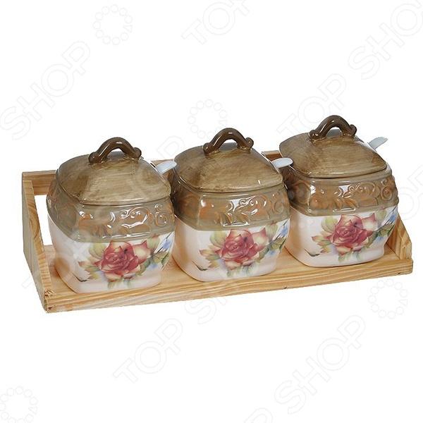 Набор банок для сыпучих продуктов Коралл «Розы» сахарница коралл розы акварель
