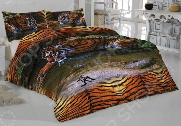Комплект постельного белья «Тигрица». 1,5-спальный