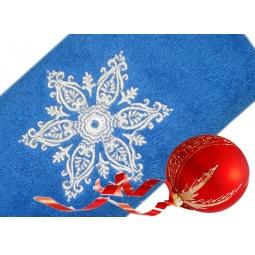 фото Полотенце подарочное с вышивкой TAC Snow flower. Цвет: синий