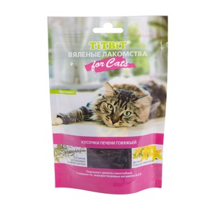 Купить Лакомство для кошек TiTBiT 5132 «Вяленые кусочки печени говяжьей»