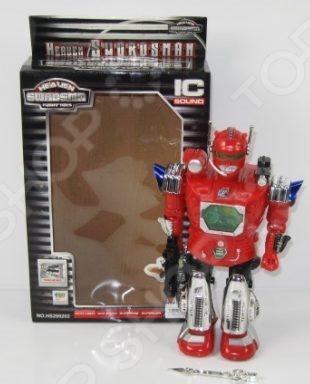 Робот игрушечный Shantou Gepai 200202Роботы и трансформеры<br>Робот игрушечный Shantou Gepai 200202 отличная фигурка, которая понравится абсолютно всем мальчикам. Игрушка отличается прекрасной детализацией, а встроенные светящиеся лампочки добавляют ей еще больше реалистичности и эффектности. Руки робота сгибаются, он может поднимать их вверх и вниз, фигурка может передвигаться благодаря встроенным в ноги колесикам, туловище подвижное поворот на 360 градусов . Робот разговаривает по-английски, стреляет из оружия стрельба дополнена реалистичными звуковыми эффектами . Голова, руки, а также оружие светятся. Словом, это очень крутая игрушка, которая станет прекрасным дополнением сюжетной игры и поможет ребенку развить фантазию и воображение, улучшит координацию движений, цветовосприятие, ловкость и мелкую моторику рук. Робот работает от трех батареек типа АА 1,5 В .<br>