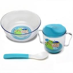 Купить Набор посуды БУСИНКА: тарелка, ложка, поильник. В ассортименте