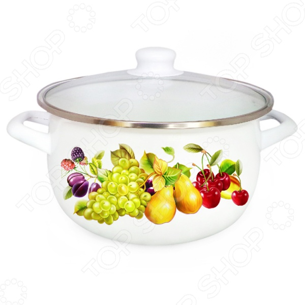Кастрюля с крышкой Mayer&amp;amp;Boch «Фрукты» MB-25029Кастрюли<br>Кастрюля с крышкой Mayer Boch Фрукты MB-25029 станет отличным дополнением к набору вашей кухонной утвари. Модель удобна и функциональна в использовании, подходит для варки супов, гарниров, макарон, овощей, компотов и т.д. Кастрюля выполнена из углеродистой стали и снабжена, устойчивым к перепадам температур и к воздействию пищевых кислот, эмалевым покрытием. В комплект поставки входит стеклянная крышка с пароотводом и металлическим ободком для защиты от сколов и трещин. Кастрюля подходит для всех типов плит, включая индукционные.<br>