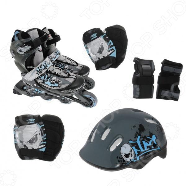 Роликовые коньки с комплектом защиты и шлемом X-MATCH GraffitiРоликовые коньки для детей<br>Коньки роликовые с комплектом защиты и шлемом X-MATCH Graffiti - великолепный подарок для активных и спортивных детей. В набор входят не только роликовые коньки, но и комплексная система защиты со шлемом, нарукавниками, перчатками и прочим. Данная модель коньков относится к классу раздвижных, что позволяет подогнать их под 4 полных размера. Ролики оснащены кнопочной системой регулировки размера, что обеспечивает дополнительную простоту в использовании. Надежная система фиксации шнуровка, клипса и пяточный ремень не позволят детской ножке скользить или случайно выскользнуть из ролика во время езды. Рама выполнена из прочного композитного пластика, который обеспечивает не только надежность, но и удивительную легкость набора. Преимущества роликовых коньков с комплектом защиты и шлемом X-MATCH Graffiti:  карбоновые подшипники обеспечивают легкость, прочность и устойчивость к царапинам;  пластиковая рама, которая снижает отдачу в ногу;  мягкие и надежные налокотники, наколенники, перчатки;  для большего удобства предусмотрен небольшой рюкзачок для хранения набора;  отлично подходит для начинающих и неопытных роллеров.<br>