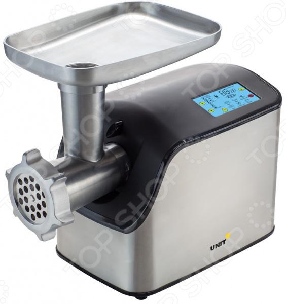 Мясорубка Unit UGR-459Мясорубки<br>Мясорубка Unit UGR-459 незаменимый элемент на любой кухне, который значительно упростит процесс приготовления блюд. Мясорубка отличается небольшими габаритами и простотой использования. Представлена в изящной серебристой расцветке, благодаря чему она идеально впишется в любой кухонный интерьер. Широкий LED-дисплей с панелью управления позволяет контролировать процесс перемола и определять настройки. Наличие функции реверса обратной прокрутки помогает пользователю извлечь застрявшие кусочки мяса, подтолкнув их к входному отверстию. Укомплектованный толкатель предотвращает попадание пальцев в шнек. Сочетание высокой мощности и острейших ножей из нержавеющей стали обеспечивает быстрый и качественный перемол мясных продуктов и прочих ингредиентов. Прибор может функционировать на шести скоростях. Наличие прорезиненных ножек помогает защитить рабочую поверхность от царапин и предотвращает соскальзывание прибора. В комплекте:  толкатель;  литой нож;  насадка для сосисок;  насадка для кеббе;  диски 2 шт.<br>