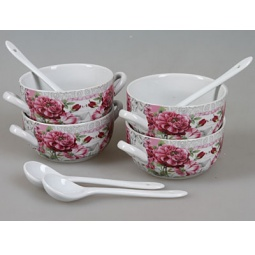 фото Набор суповых тарелок Rosenberg 9302. Рисунок: сад