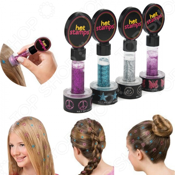 Набор штампов для волос Bradex Hot StampsАксессуары для маленькой модницы<br>Набор штампов для волос Bradex Hot Stamps станет довольно оригинальным и необычным дополнением детской прически. Яркие и блестящие штампы помогут украсить любую прическу, добавив ей некоторую изюминку и креативность. Краски-блеск отличаются удивительной простотой в использовании, достаточно приложить штамп с оригинальным рисунком к волосам и он тут же отпечатается на их поверхности. Набор походит для любого типа волос и самых разнообразных причесок, поэтому его можно смело использовать, как на детских утренниках, так и для простых посиделок с друзьями. В наборе 4 штампа.<br>