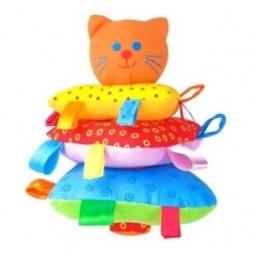 фото Игрушка-погремушка Мякиши «Пирамидка Котик»