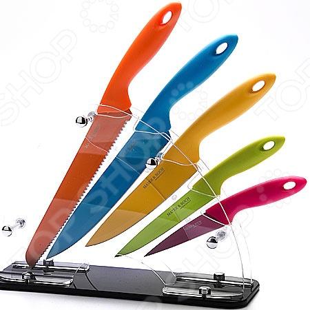 Набор ножей Mayer&amp;amp;Boch MB-20135Ножи<br>Набор ножей Mayer Boch MB-20135 состоит из пяти инструментов, изготовленных из нержавеющей стали, что гарантирует длительный срок службы и высокий уровень износоустойчивости. Ножи с тончайшим лезвием станут для вас верным помощником при нарезке овощей, фруктов и мяса. Поскольку их лезвия не впитывают запахов, вы сможете насладиться естественным вкусом продуктов без металлического привкуса. Специальный дизайн ручки обеспечивает безопасную работу и комфортное положение в руке, а веерная пластиковая подставка, которая входит в набор, сэкономит место на рабочем столе и повысит уровень безопасности при хранении и транспортировке приборов.<br>