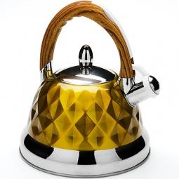 фото Чайник со свистком Mayer&Boch «Граненый». Цвет: желтый