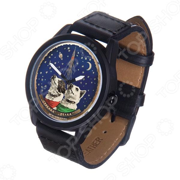 Часы наручные Mitya Veselkov «Белка и Стрелка» MVBlackМужские наручные часы<br>Не секрет, что правильно подобранные аксессуары вершат весь образ, добавляют ему законченности и помогают грамотно расставить цветовые акценты. Наручные часы же являются не просто стильным украшением, но и весьма функциональным аксессуаром. Именно поэтому, наряду с оригинальным дизайном и влиянием модных тенденций, при их выборе важно учитывать вид часового механизма и качество используемых материалов. Часы наручные Mitya Veselkov Белка и Стрелка MVBlack станут отличным дополнением к набору ваших аксессуаров. Модель отличается стильным дизайном и прекрасным качеством исполнения, хорошо сочетается с яркими креативными нарядами. Корпус часов выполнен из минерального стекла и стали с матовым эмалевым покрытием. Ремешок изготовлен из натуральной кожи, застежка классическая. Механизм часов кварцевый Citizen Япония .<br>