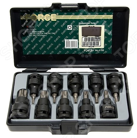 Набор бит ударных Force F-4108Наборы бит и насадок<br>Набор бит ударных Force F-4108 комплект ударных насадок для 1 2 DR. Изготовлены с применением специального метода закалки, за счет этого биты имеют повышенную прочность. Предоставляются в упаковке, где можно хранить и переносить инструменты. Насадки 1 2 DR торкс  T20- T25- T27- T30- T40- T45- T50- T55- T60- T70 55мм.<br>