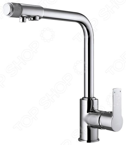 Смеситель для питьевой воды Argo OlimpСмесители для кухни<br>Смеситель для питьевой воды Argo Olimp станет прекрасным дополнением вашей кухни. Он оборудован однорыжачным механизмом, с помощью которого можно легко регулировать температуру воды и ее напор. Представленная модель изготовлена из высококачественной латуни, что гарантирует высокую прочность, долговечность, устойчивость к высокой влажности и значительным перепадам температур. Хромо-никелевое покрытие защищает корпус изделия от коррозии и известковых отложений. Установленный аэратор, нормализует поток воды, насыщает ее кислородом и помогает снизить расход. В комплект входит гибкая подводка MATEU 50 см.<br>
