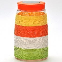 фото Банка для сыпучих продуктов Loraine. Оплетка: цветная нить. Высота: 20,5 см. Объем: 1650 мл