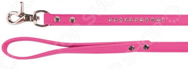 Поводок для собак DEZZIE «Бархат и стразы» 2. Цвет: розовый шлейка для собак dezzie бархат и стразы цвет синий