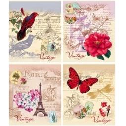 Купить Тетрадь в клетку Проф-Пресс «Ассорти из цветов и бабочек». В ассортименте