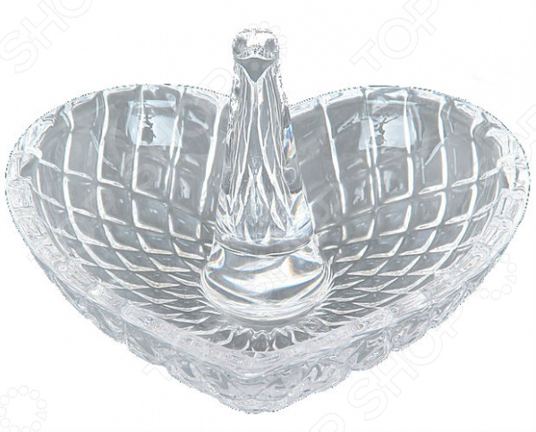 Подставка для колец Elan Gallery «Сердце»Хранение украшений<br>Подставка для колец Elan Gallery Сердце полезное приобретение, которое по достоинству оценит каждая женщина. Изделие предназначено для безопасного хранения различных колец. С ее помощью вы избежите утери ценных и дорогих сердцу украшений. Подставка выполнена из высококачественного стекла в форме сердца. С центре емкости находится стеклянный столбик, на который нанизываются кольца. Также, на самом основании можно оставлять украшения и мелкие вещи. Это невероятно практичный и красивый предмет, который станет желанным подарком представительнице прекрасного пола.<br>