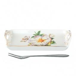 фото Тарелка для лимона с вилкой Elan Gallery «Белый шиповник»