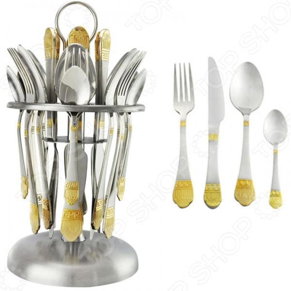 Набор столовых приборов Mayer&amp;amp;Boch MB-23097Столовые приборы<br>Набор столовых приборов Mayer Boch MB-23097 это сочетание непревзойденного качества и стильного современного дизайна. Он станет отличным дополнением к комплекту ваших кухонных принадлежностей и подойдет для сервировки как обеденного, так и праздничного стола. Набор рассчитан на шесть персон и состоит из 25 предметов: шести столовых ложек, шести чайных, шести ножей, шести вилок и металлической подставки. Приборы выполнены из высококачественной, устойчивой к воздействию кислот и щелочей, стали. Их рукоять декорирована золотистой штамповкой, выполненной по технологии плазменного напыления.<br>