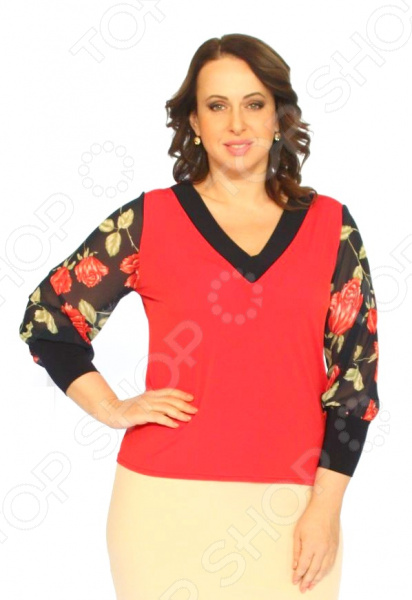 Блуза Элеганс «Атмосфера любви»Блузы. Рубашки<br>Блуза Элеганс Атмосфера любви незаменимая вещь в гардеробе модницы. Создана для женщин практически любой комплекции, ведь особенности кроя помогают скрыть недостатки и подчеркнуть достоинства фигуры. Эта блуза отлично подойдет для повседневного использования.  Классическая блуза с шифоновыми рукавами.  Особого внимания заслуживает оригинальное сочетание цветов и фактур это классический и эффективный прием, помогающий добиться гармоничных пропорций тела, отвлечь внимание от проблемных зон и облегчить силуэт.  V-образный вырез горловины, декорированный тесьмой, визуально удлиняет шею и выгодно подчеркивает зону декольте.  Швы обработаны текстурированными эластичными нитями, поэтому не тянутся и не натирают кожу. Блуза сшита из приятного трикотажа, состоящего на 95 из полиэстера и на 5 из эластана. Рукава выполнены из шифоновой ткани 100 полиэстер . Материал не мнется, не скатывается и не линяет.<br>