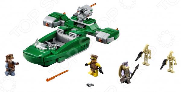 Конструктор игровой LEGO «Флэш-спидер»Конструкторы LEGO<br>Конструктор игровой Lego Флэш-спидер станет отличным подарком для юных фанатов знаменитой серии художественных фильмов Star Wars! Набор поможет развить фантазию, пространственное мышление и навыки мелкой моторики. Этот модифицированный наземный спидер обладает открытой кабиной с пространством для водителя и 3 пассажиров-минифигурок, а также открывающиеся багажные отсеки. Когда битва станет по-настоящему жаркой, задействуйте вращающуюся пружинную пушку сзади и отбивайтесь от боевых дроидов. Для ещё большей огневой мощи здесь есть 2 дополнительных пружинных пушки, встроенных в боковые двигатели. В набор входят фигурки с разнообразным оружием и аксессуарами:  Защитник Набу;  Офицер безопасности Набу;  Капитан Тарпалс;  Два боевых дроида.<br>