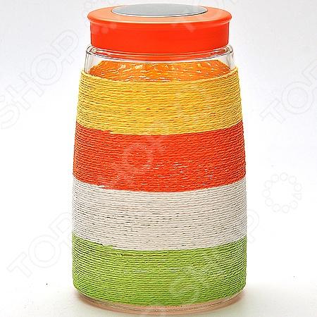 Банка для сыпучих продуктов Loraine. Оплетка: цветная нить loraine банка для сыпучих 3 шт