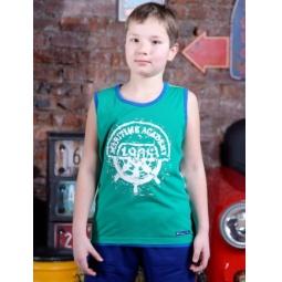 фото Майка для мальчика Detiland SS15-UET-BTP-914. Цвет: зеленый с полосой. Рост: 140 см
