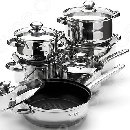 Набор кастрюль Mayer&amp;amp;Boch MB-3835Наборы посуды для готовки<br>Набор кастрюль Mayer Boch MB-3835 это незаменимый комплект посуды для приготовления пищи на вашей кухни. Элементы набора выполнены из нержавеющей стали. Крышки сделаны из жаропрочного стекла и оснащены клапанами для выхода пара. Подойдет для использования на всех типах плит, включая индукционные. Комплект включает:  Кастрюля: 6 л D24 х 14 см.  Кастрюля: 3,5 л D20 х 11,5 см.  Кастрюля: 2,5 л D18 х 10,5 см.  Кастрюля: 1,7 л D16 х 9,5 см.  Ковш: 1,7 л D16 х 9,5 см.<br>