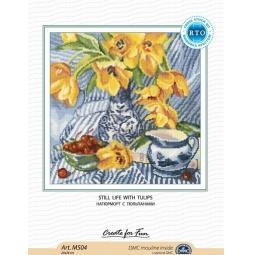 фото Набор для вышивания крестиком RTO «Натюрморт с тюльпанами»