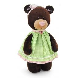 фото Мягкая игрушка Orange стоячая в платье в клеточку Milk «Медведь»