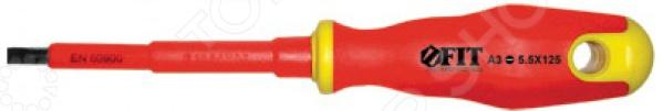 Отвертка шлицевая изолированная FITПлоские отвертки<br>Отвертка FIT предназначена для монтажных, крепежных или ремонтных работ с резьбовыми соединениями, находящимися под электрическим напряжением до 1000 Вольт . Изолированное жало изготовлено из хром-ванадиевой стали. Магнитный наконечник покрыт специальным износостойким и антикоррозийным слоем, поэтому отвертка прослужит долго. Эргономичная прорезиненная мягкая ручка обеспечит надежный и удобный захват в процессе работы. Модель оснащена отверстием для подвеса.<br>