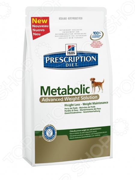 Корм сухой диетический для собак Hill 39;s Metabolic Коррекции веса предназначен специально для собак. Представленный вид питания разработан для тех питомцев, которые испытывают проблемы со здоровьем или находятся в группе риска. Тем не менее, ученым из компании Hill 39;s удалось сохранить прекрасные вкусовые качества корма, поэтому ваш четвероногий друг будет в восторге от своего нового блюда. Уникальное соотношение витаминов, кислот и минералов позволит собаке в самые короткие сроки почувствовать себя намного лучше. Преимущества корма Hill 39;s Prescription Diet Metabolic Canine Original:  Нутриенты обеспечивают чувство сытости, уменьшая при этом воспаление и стимулируя метаболизм;  Клетчатка помогает усилить чувство насыщения, контролируя при этом аппетит и поддерживая здоровье желудочно-кишечного тракта;  L-карнитин усиливает преобразование жиров в энергию;  Лизин оптимизирует процесс сжигания жиров и укрепляет мышечную массу;  Антиоксидантная формула нейтрализует действие свободных радикалов;  Снижение веса на 1-2 от общей массы тела в неделю;  Общее снижение веса жировой массы на 28 за 60 дней клинически доказано ;  Учитываются индивидуальные энергетические потребности собаки, оптимизируя процесс сжигания жиров и влияя на эффективное использование калорий. Клинические исследования показали, что применение Hill 39;s Prescription Diet Metabolic Canine Original позволяет избежать повторного набора веса после прохождения программы по его снижению. При этом стоит учитывать, что после достижения оптимального веса, пищевая программа должна быть скорректирована. Данный вид корма не подходит для:  Кошек;  Щенков;  Беременных и кормящих сук. Внимание! Рационы Hill 39;s Prescription Diet могут быть рекомендованы только ветеринарным врачом. Осуществляя покупку, вы подтверждаете, что осведомлены о необходимости получения рекомендации ветеринарного специалиста не реже, чем раз в 6 месяцев для применения данного рациона. Кормить собаку следует в соответствии со следующим рук