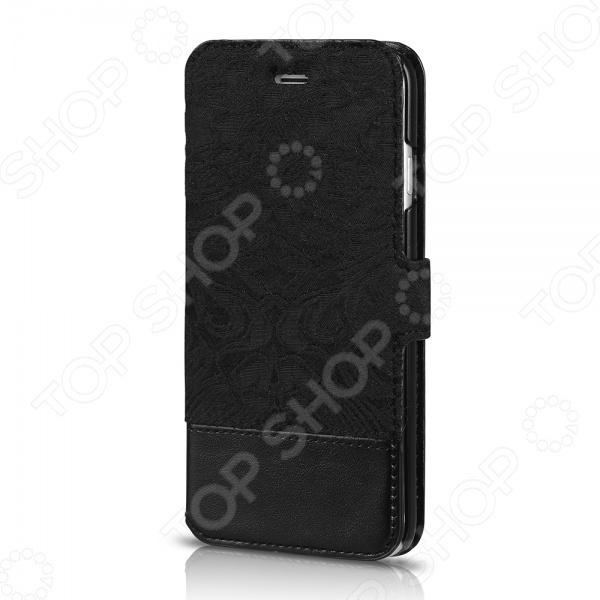 Чехол для iPhone 6 ITSKINS Angel-BLCKЗащитные чехлы для iPhone<br>Чехол для iPhone 6 ITSKINS Angel-BLCK надежно защитит ваш смартфон при повседневном использовании от грязи, пыли, царапин и потертостей. Представленная модель выполнена в виде книжки, поэтому от внешнего воздействия защищена не только задняя крышка, но и дисплей дорогостоящего девайса. Чехол изготовлен из качественных материалов и не скользит в руке, а рельефный рисунок придает изделию стильный и модный вид. Чехол не блокирует какие-либо разъемы устройства, а потому не препятствует комфортному использованию. На внутренней стороне имеется отделение для кредитной карты. ITSKINS Angel-BLCK придаст телефону уникальный вид и подчеркнет вашу индивидуальность.<br>