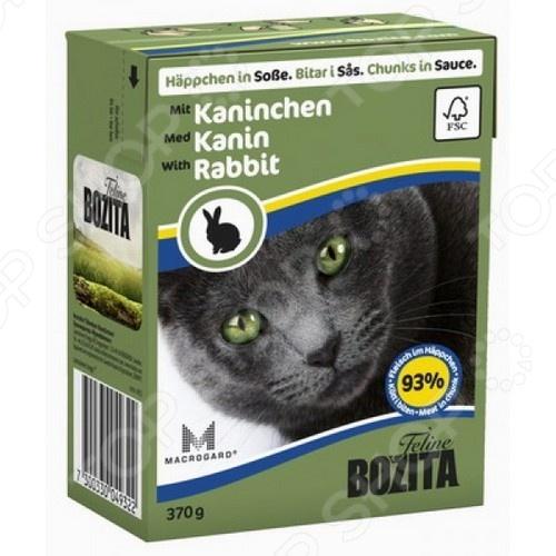 Корм консервированный для кошек Bozita Chunks in Sauce with RabbitВлажные корма<br>Корм консервированный для кошек Bozita Chunks in Sauce with Rabbit сбалансированное дополнение к повседневному питанию, которое идеально пойдет для кормления взрослых кошек всех пород. Благодаря тому, что в состав и корма входит большое количество чистого и натурального мяса, его по достоинству оценят даже самые капризные и разборчивые в еде питомцы. Приятный и натуральный вкус кроличьего, свиного и куриного мяса не испорчен искусственными красителями, консервантами и усилителями вкуса. Помимо свежего мяса, рацион также содержит другие высококачественные ингредиенты, чьи питательные вещества, витамины и минералы удовлетворят естественные потребности любой кошки, независимо от её образа жизни: пассивного или активного. Почему стоит выбрать корм консервированный для кошек Bozita Chunks in Sauce with Rabbit:  содержит до 93 натурального мяса;  не содержит сахара и глютена, которые могут провоцировать развитие диабета и ожирения у домашних животных;  содержит малое количество жиров;  богат натуральными витаминами A, B, D;  содержит естественные антиоксиданты C и E;  содержит жирные кислоты Омега-3 для более упругой и блестящей шерстки;  уникальная система MacroGard для сильного и здорового иммунитета;  высокое содержание таурина для защиты глаз, нормальной сердечной функции и репродуктивной системы. Суточная норма кормления. Корм консервированный для кошек Bozita Chunks in Sauce with Rabbit не является отдельным повседневным рационом, а лишь лакомством. Не следует полностью заменять сухой корм консервированным. Рекомендованное количество корма следует корректировать в зависимости от особенностей и потребностей вашей кошки, её физического состояния и образа жизни. Корм рекомендуется давать комнатной температуры.       Вес животного кг     1     2     3     4     5     6       Количество корма в день г     70-110     140-230     210-340     280-450     350-570     420-680    Внимание! Всегд