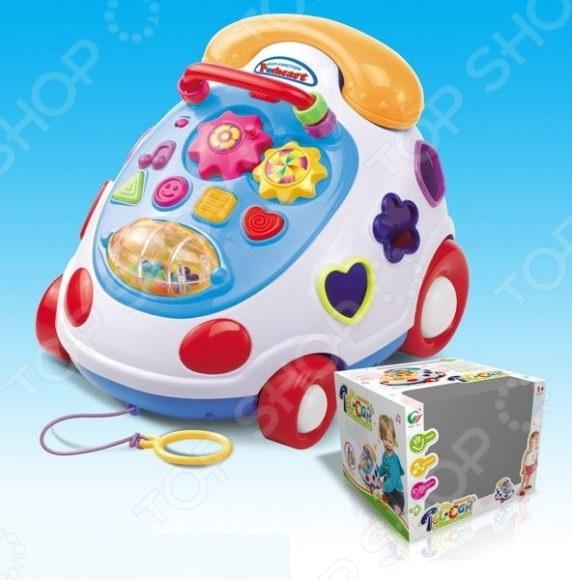 Центр развивающий Shantou Gepai «Телефон»Другие развивающие игрушки и игры<br>Центр развивающий Shantou Gepai Телефон чудесный подарок для вашего любимого чада. Игрушка выполнена в виде яркого телефончика и снабжена трубкой-погремушкой, счетами, барабаном с цветными шариками и вращающимися шестеренками. На игровой панели расположены кнопки, нажав на которые, малыш услышит различные звуки: детский смех, крик петуха, барабанную дробь и музыку. Кроме того, телефончик также можно использовать в качестве каталки и сортера. Игрушка работает от трех батарее типа АА приобретаются отдельно . Предназначено для детей в возрасте от 1-го года.<br>