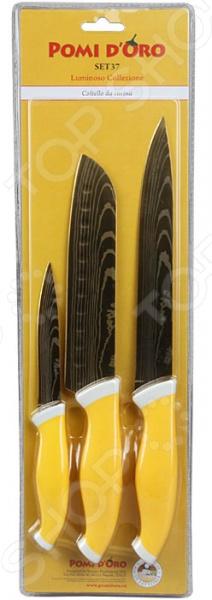 Набор ножей POMIDORO SET37Ножи<br>Набор ножей POMIDORO SET37 с лезвиями из высококачественной нержавеющей стали станет незаменимым на вашей кухне. Идеально подойдет для шинковки, чистки, нарезки овощей и фруктов, а также перерубания мелких костей. Лезвия ножей долго сохраняют заточку, а цельнокованная конструкция клинков гарантирует долговечность изделий. Эргономичная рукоять каждого изделия выполнена из прорезиненного пластика. Рельефная поверхность рукояти обеспечит надежный захват и не даст ножу скользить в руке при использовании. С набором ножей POMIDORO SET37, вы почувствуете себя профессиональным шеф-поваром.<br>