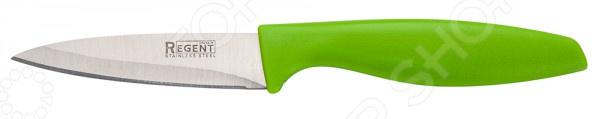 Нож Regent для овощей и фруктов FiloНожи<br>Нож Regent Filo с лезвием из высококачественной стали станет незаменимым на вашей кухне. Представленная модель идеально подойдет для очистки и нарезки овощей и фруктов любой твердости. Лезвие долго остается острым, а цельнокованный клинок гарантирует долговечность изделия. Эргономичная объемная рукоять удобно ложится в ладонь, чтобы рука не уставала от долгой работы. Она выполнена из пластика, поэтому проста в уходе и очень надежна. Рельефная поверхность обеспечит надежный захват и не даст ножу скользить в руке при использовании. С ножом Regent Filo, вы почувствуете себя профессиональным шеф-поваром, который создает кулинарные шедевры день за днем.<br>