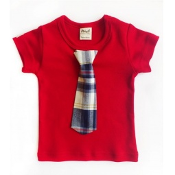 фото Футболка для новорожденных с галстуком Ёмаё. Цвет: красный. Размер: 26. Рост: 92 см