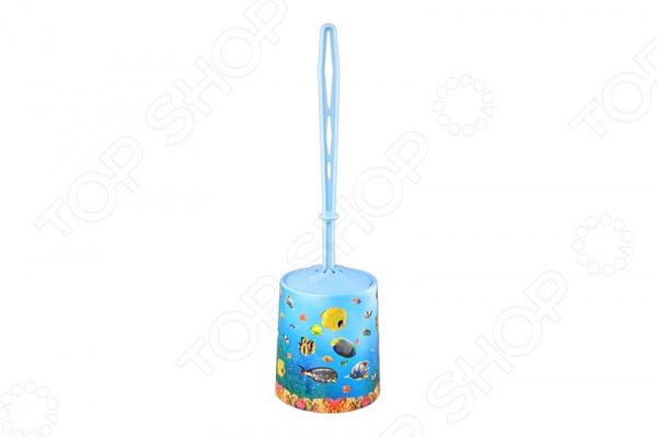 Ёршик для туалета и подставка круглая для детей Violet 1401/79 «Океан»