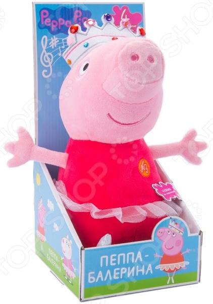 Мягкая игрушка интерактивная Peppa Pig «Пеппа балерина»Мягкие интерактивные игрушки<br>Мягкая игрушка интерактивная Peppa Pig Пеппа балерина отличное развлечение для маленьких любителей мультфильма про Свинку Пеппу. Это чудесный маленький друг, который поможет ребенку весело и с пользой провести время. Нажав на животик игрушки, малыш услышит музыкальное приветствие, два стиха и песенку. Игра с плюшевой Пеппой способствует развитию воображения и мелкой моторики рук, улучшает цветовое и музыкальное восприятие ребенка, разрабатывает навыки общения и такие качества, как внимательность и аккуратность. Высота игрушки 30 см. Игрушка работает от 5 батареек типа AG13 или LR44 в комплекте .<br>