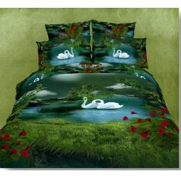 фото Комплект постельного белья Domomania Lebedinoe ozero. Satin Fotoprint. Евро