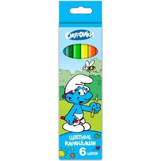 Купить Набор карандашей цветных Росмэн «Смурфики»: 6 цветов