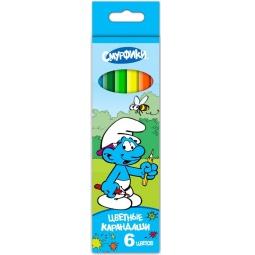 фото Набор карандашей цветных Росмэн «Смурфики»: 6 цветов