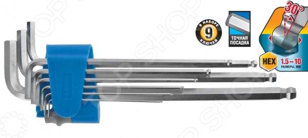 Набор ключей имбусовых длинных Зубр «Эксперт» 27466-H9 набор длинных имбусовых ключей с шаром inforce 9 шт 55633
