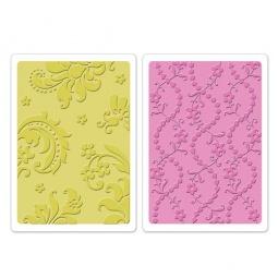 фото Набор форм для эмбоссирования Sizzix Textured Impressions Дамасский узор и бисер с цветами
