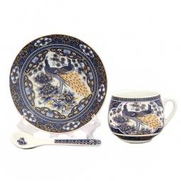 Купить Чашка кофейная с блюдцем и ложкой Elan Gallery «Павлин синий»